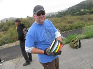 A disc golfer shows us his arsenal.