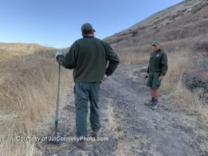Volunteers from various groups such CORBA and the Santa Monica Mountain  Trails  Council work with COSCA rangers during the Fall Trail Work Day to repair and improve trails at the Hill Canon/Conejo Canyons Open Space. Photo: Jill Connelly